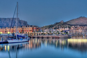 Cape Grace hotel,part of Table Mountain,Signal Hill and Cape Town harbour.