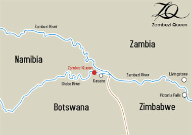 Chobe river Houseboat map.