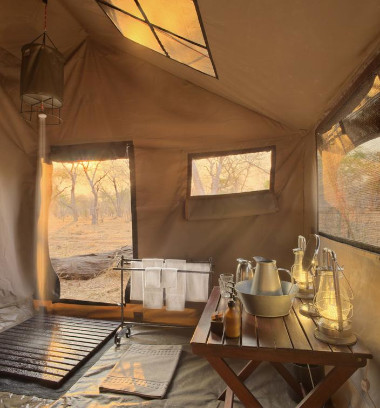 Chobe tented shower Botswana Safari
