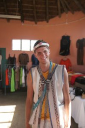 Dressing up in local Xhosa clothing