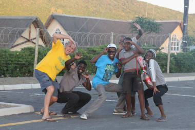 Stephen with Eastern Cape village youth