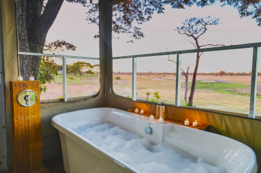 Elephant's eye bathroom Hwange Zimbabwe Safari