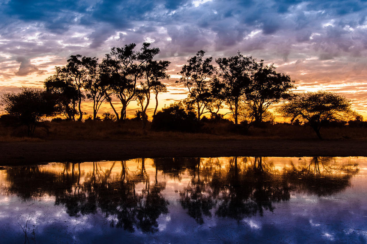 Little Momba Camp Sunset Okavango Delta Botswana Safari