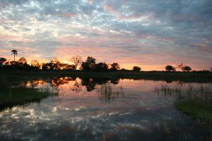 Okavango Delta Botswana safari Sunset.