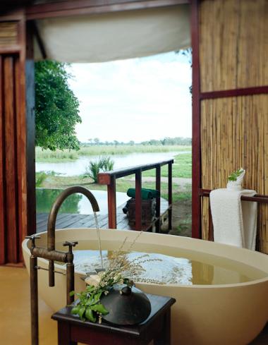Sausage tree camp bathroom Zambia Safari