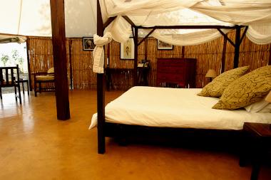 Sausage tree camp bedroom Zambia Safari