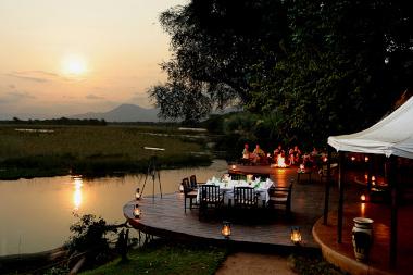 Sausage tree camp river deck Zambia Safari