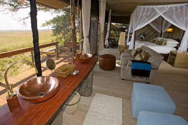 Shumba Camp bedroom Busanga plain Kafue National Park Zambia Safari.