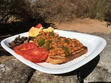 Vegan Safari breakfast Namibia.