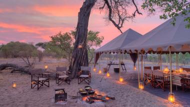 Savute open dinning area Botswana safari
