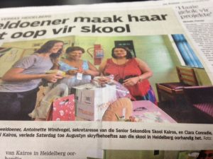 School donation on a South Africa Tour. T