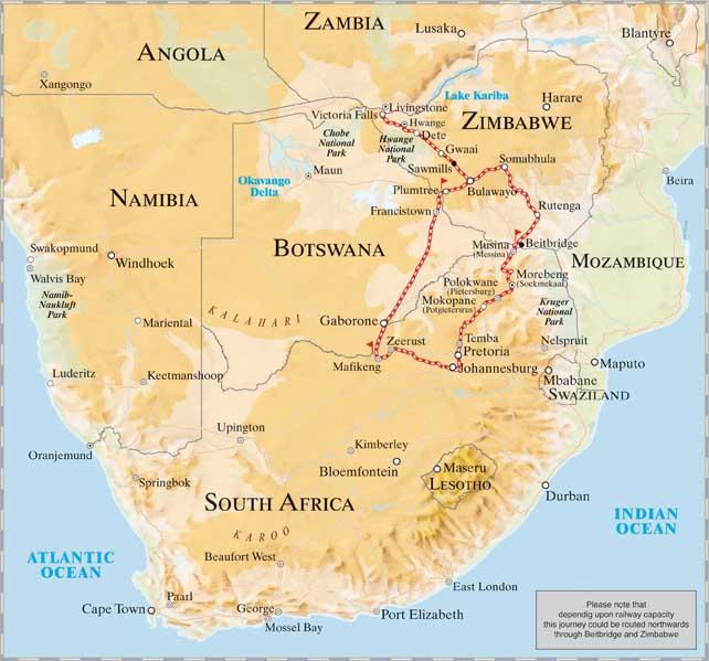 Rovos Rail Route Pretoria to Victoria Falls