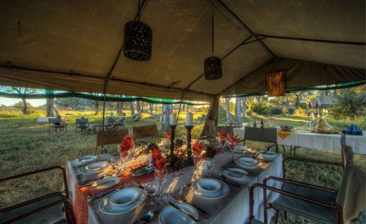 vegan tented safari meal space Botswana